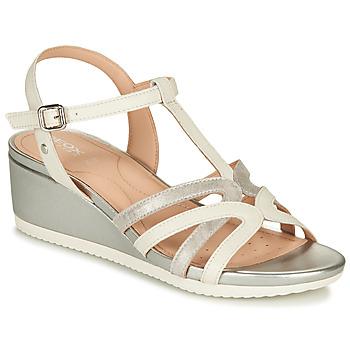 Schoenen Dames Sandalen / Open schoenen Geox D ISCHIA Wit / Zilver