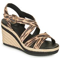 Schoenen Dames Sandalen / Open schoenen Geox D PONZA Bruin / Zwart