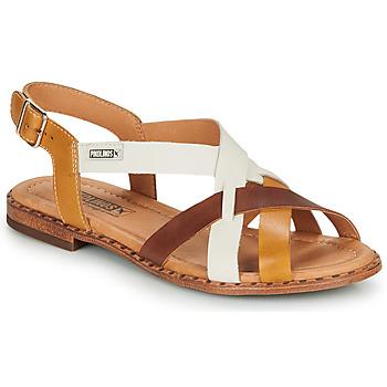 Schoenen Dames Sandalen / Open schoenen Pikolinos ALGAR W0X Cognac / Wit / Geel