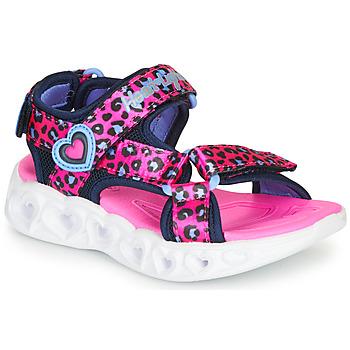 Schoenen Meisjes Outdoorsandalen Skechers HEART LIGHTS Roze / Zwart