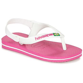 Schoenen Meisjes Teenslippers Havaianas BABY BRASIL LOGO II Roze / Wit