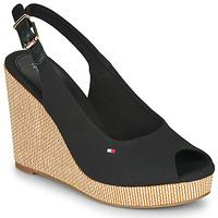 Schoenen Dames Sandalen / Open schoenen Tommy Hilfiger ICONIC ELENA SLING BACK WEDGE Zwart
