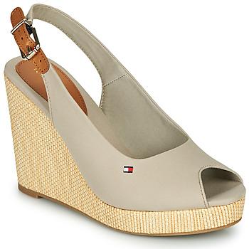 Schoenen Dames Sandalen / Open schoenen Tommy Hilfiger ICONIC ELENA SLING BACK WEDGE Grijs