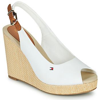 Schoenen Dames Sandalen / Open schoenen Tommy Hilfiger ICONIC ELENA SLING BACK WEDGE Wit