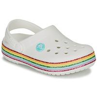 Schoenen Meisjes Klompen Crocs CROCBAND RAINBOW GLITTER CLG K Wit