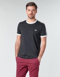 Textiel Heren T-shirts korte mouwen Fred Perry TAPED RINGER T-SHIRT Zwart