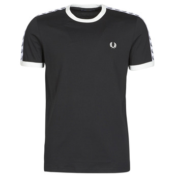 Textiel Heren T-shirts korte mouwen Fred Perry TAPED RINGER T-SHIRT Zwart