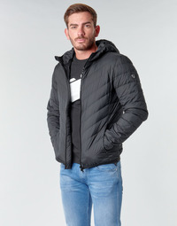 Textiel Heren Dons gevoerde jassen Emporio Armani EA7 TRAIN CORE SHIELD M DOWN LIGHT HOODIE JACKET Zwart