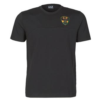 Textiel Heren T-shirts korte mouwen Emporio Armani EA7 TRAIN SOCCER Zwart