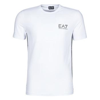 Textiel Heren T-shirts korte mouwen Emporio Armani EA7 TRAIN LOGO SERIES M TAPE TEE ST Wit