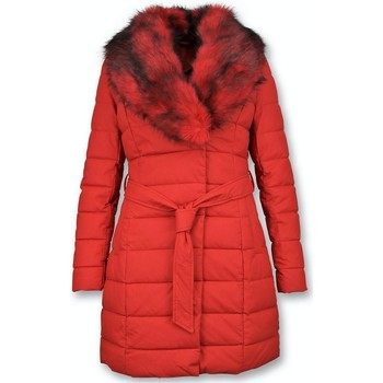 Textiel Dames Dons gevoerde jassen Gentile Bellini Lange Parka Winterjas Rode Faux Bontkraag Rood