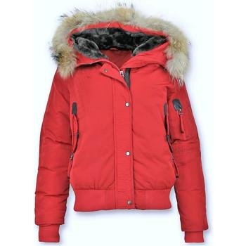 Textiel Dames Wind jackets Gentile Bellini Korte Winterjas Grote Bontkraag Rood