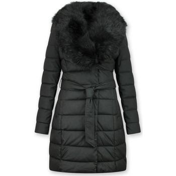 Textiel Dames Dons gevoerde jassen Gentile Bellini Lange Parka Winterjas E Faux Bontkraag Zwart