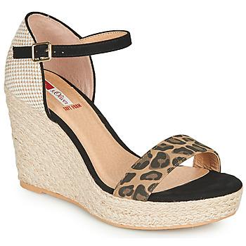 Schoenen Dames Sandalen / Open schoenen S.Oliver NOULATI Zwart / Luipaard