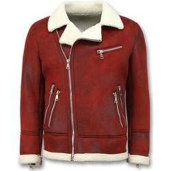 Textiel Heren Leren jas / kunstleren jas Tony Backer Imitatie Bontjas - Lammy Coat - Rood, Bordeaux
