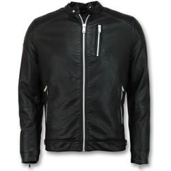 Textiel Heren Wind jackets Enos Nep Leren Jas Motor Jack Zwart