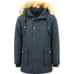 Textiel Dames Parka jassen Tony Backer Lange Winterjas Met Grote Echte Bontkraag - Blauw