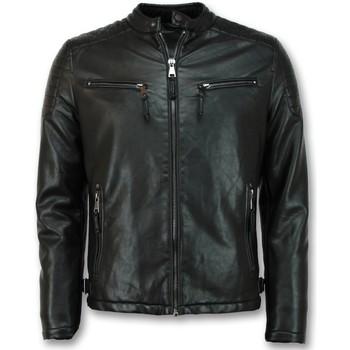 Textiel Heren Wind jackets Enos Imitatie Leren Jas Biker Jack Zwart
