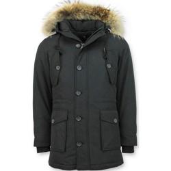 Textiel Dames Parka jassen Tony Backer Lange Winterjas Met Grote Bontkraag - Zwart