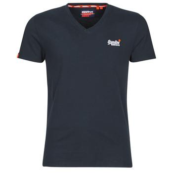 Textiel Heren T-shirts korte mouwen Superdry ORANGE LABEL VNTGE EMB VEE TEE Eclipse / Marine