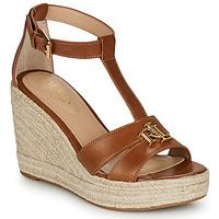 Schoenen Dames Sandalen / Open schoenen Lauren Ralph Lauren HALE ESPADRILLES CASUAL Cognac
