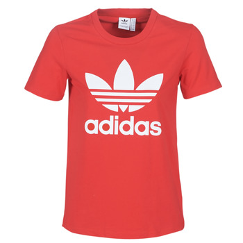 Textiel Dames T-shirts korte mouwen adidas Originals TREFOIL TEE Rood / Luxuriant