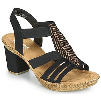 Schoenen Dames Sandalen / Open schoenen Rieker ROOT Zwart