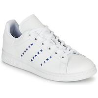 Schoenen Kinderen Lage sneakers adidas Originals STAN SMITH J Wit / Blauw