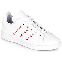 Schoenen Meisjes Lage sneakers adidas Originals STAN SMITH J Wit / Rood / C?ur