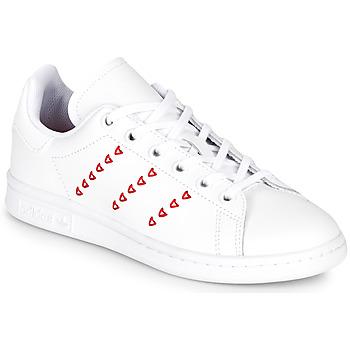 Schoenen Meisjes Lage sneakers adidas Originals STAN SMITH J Wit / Rood / CŒur