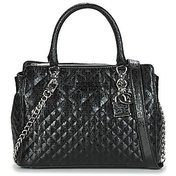 Tassen Dames Handtassen kort hengsel Guess QUEENIE LUXURY SATCHEL Zwart