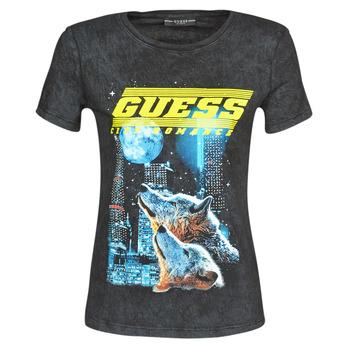 Textiel Dames T-shirts korte mouwen Guess SS CN NEON TEE Zwart