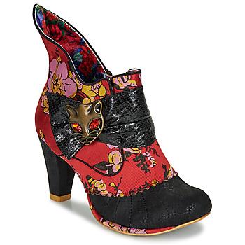 Schoenen Dames Enkellaarzen Irregular Choice MIAOW Rood / Zwart