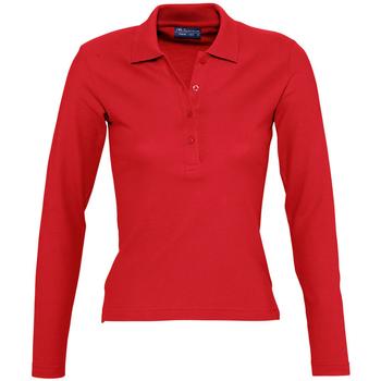 Textiel Dames Polo's lange mouwen Sols PODIUM COLORS Rojo