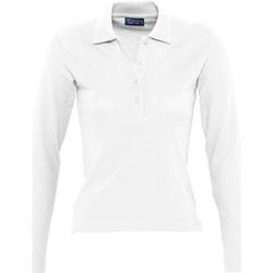 Textiel Dames Polo's lange mouwen Sols PODIUM COLORS Blanco