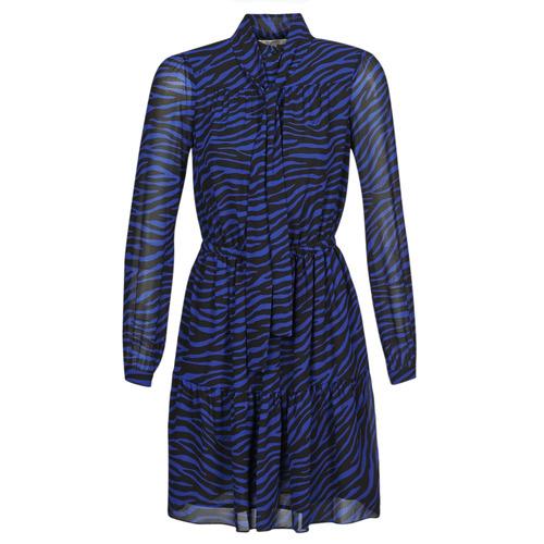 Textiel Dames Korte jurken MICHAEL Michael Kors BOLD BENGAL TIER DRS Blauw / Zwart