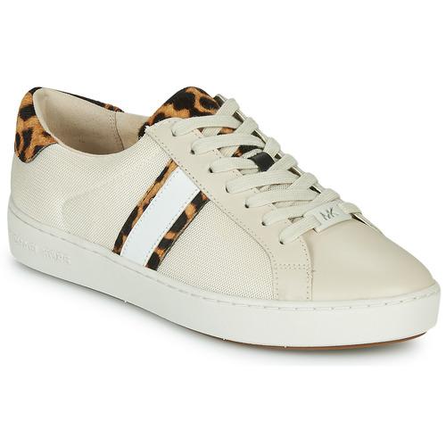 Schoenen Dames Lage sneakers MICHAEL Michael Kors IRVING STRIPE LACE UP Ecru / Luipaard