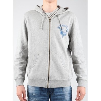 Textiel Heren Fleece Wrangler Hoodie Zip Sweat W6497JE37 grey