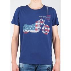 Textiel Heren T-shirts korte mouwen Wrangler S/S Biker Flag Tee W7A53FK 1F navy