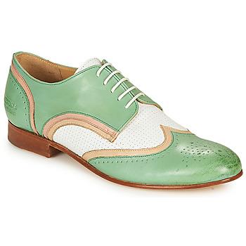 Schoenen Dames Derby Melvin & Hamilton SALLY 15 Groen / Wit / Beige