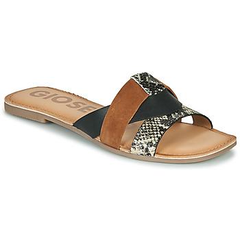 Schoenen Dames Leren slippers Gioseppo LANTANA Zwart / Cognac