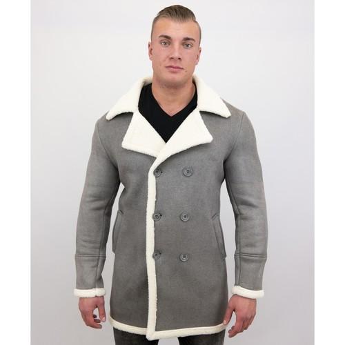 Textiel Heren Mantel jassen Tony Backer Imitatie Bontjas Lang - Lammy Coat - Grijs