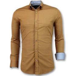 Textiel Heren Overhemden lange mouwen Tony Backer Italiaanse Overhemden - Slim Fit - Bruin