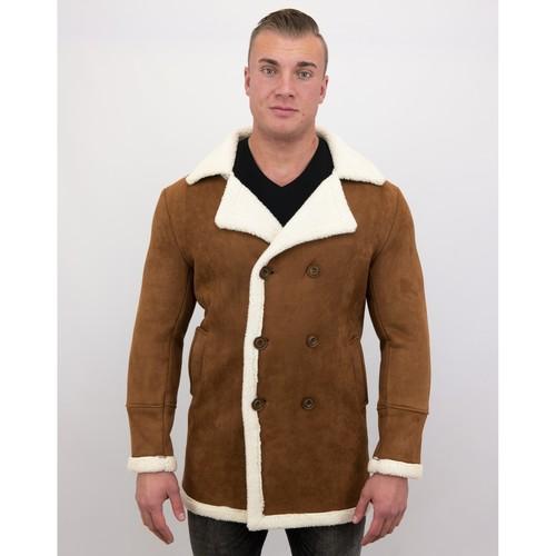 Textiel Heren Mantel jassen Tony Backer Imitatie Bontjas - Lammy Coat Lang - Bruin