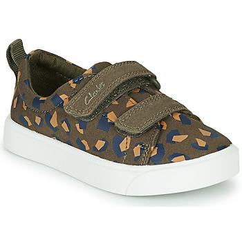 Schoenen Meisjes Lage sneakers Clarks CITY BRIGHT T Kaki