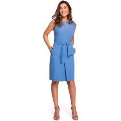 Textiel Dames Sweaters / Sweatshirts Style S158 Sheath mouwloze jurk met plooi vooraan - blauw