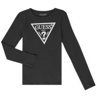 Textiel Meisjes T-shirts met lange mouwen Guess GARICE Zwart