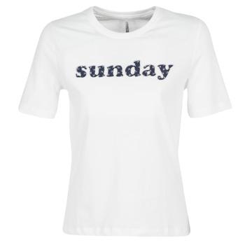 Textiel Dames T-shirts korte mouwen Only ONLSANNE Wit