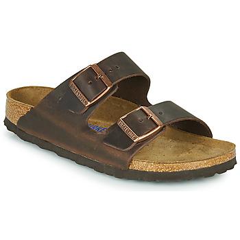 Schoenen Dames Leren slippers Birkenstock ARIZONA SFB LEATHER Bruin
