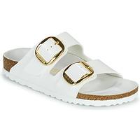 Schoenen Dames Leren slippers Birkenstock ARIZONA BIG BUCKLE Wit / Goud